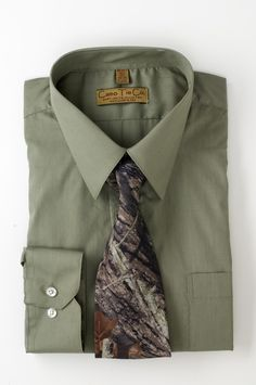 The Camo Tie Co. Dress Shirt & Tie Collection. The Camo Shop has partnered with The Camo Tie Co. to offer these matched shirt and tie sets. A perfect pair for any outdoorsman, these carefully selected and finely crafted dress shirts and companion Mossy Oak Breakup® Camo Ties will have any sportsman ready for a formal occasion while still paying homage to their favorite outdoor soul.