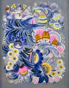 Entries feed for Russian Folk Art, Ukrainian Art, Folk Art Flowers, Flower Art, Blue Flowers, Pottery Painting, Pottery Art, Illustrations, Illustration Art