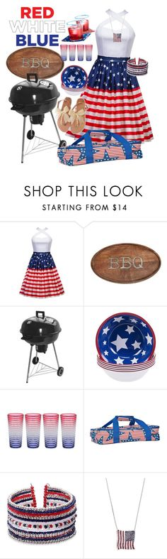"""""""Red White and Blue BBQ"""" by looking-through-my-eyes ❤ liked on Polyvore featuring Mud Pie, Certified International, Zak! Designs and Mudd"""