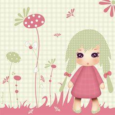 Stickers - Sweet Fabrique - Badge Kiwi Doll - Mon Jardin Secret
