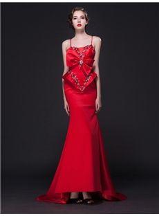 蝶結び飾りの超上品綺麗目ロングドレス イブニングドレス 結婚式ドレス