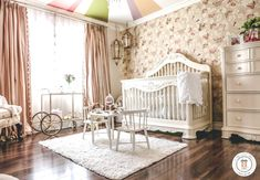 Girl's Nursery with Butterfly Wallpaper and Faux Carousel Canopy Ceiling - Project Nursery