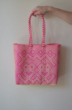 Pink Tote Mexican Bag Handmade Mexican handbag by OtomiCrafts