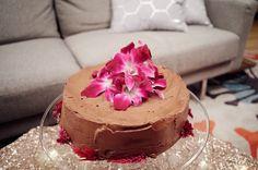 Angel Food Cake with Chocolate Hazelnut Frosting   Recipe by Giada De Laurentiis