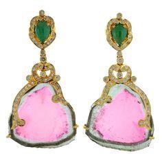 Ravishing Watermelon Tourmaline Gold Drop Earrings | From a unique collection of vintage drop earrings at https://www.1stdibs.com/jewelry/earrings/drop-earrings/