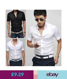 Casual Shirts & Tops Tops Stylish Mens Luxury Short Sleeve Shirt Casual Slim Fit Dress Shirts Hot #ebay #Fashion