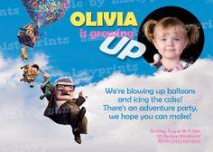 Custom Photo - Disney UP Birthday Invitation - Printable GIRL or BOY
