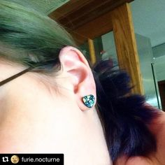 """Customer #Repost @furie.nocturne with @repostapp. ・・・ My #earrings match my #hair.  #countrymermaids #blue #green #bluehair #greenhair…"""