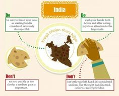 Infographic - how to eat food in different countries: INDIA Comida India, Dining Etiquette, Table Manners, Different Countries, India Food, India India, World Cultures, International Recipes, Good To Know