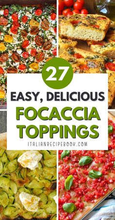 You'll love these 27+ focaccia topping ideas that you can easily make at home! Use your favorite focaccia recipe to make the base and one or more of these focaccioa topping ideas. Italian Recipe Book, Italian Bread Recipes, Italian Dishes, Italian Foods, Italian Cooking, Focaccia Recipe, Rustic Bread, Pizza Bites, Fresh Bread