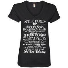 In This Family  We Do Disney    V-Neck Tee
