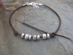 Sundance Jewelry Treasures Leather Sterling Silver Beaded Bracelet Artisan