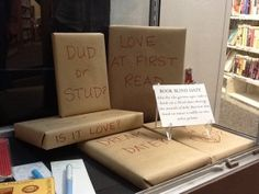 Go on a blind date with a book idea. Check out the Kitchener Public Library for a reading surprise! Library Bulletin Boards, Bulletin Board Display, Book Displays, Library Displays, Rockville Centre, Library Activities, Summer Reading Program, Local Library, True Identity