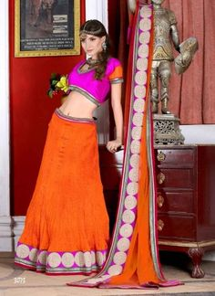 Latest Magenta And Orange Net Embroidery Work Chaniya Choli