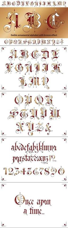 ABC - Kalligraphie Gothic ornamental alphabet A Calligraphy Fonts Alphabet, Tattoo Fonts Alphabet, Tattoo Lettering Fonts, Hand Lettering Alphabet, Graffiti Lettering, Typography Fonts, Penmanship, Caligraphy, Lettering Guide