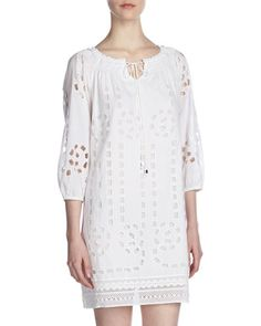 Eyelet Peasant Dress, White by MICHAEL Michael Kors at Last Call by Neiman Marcus.