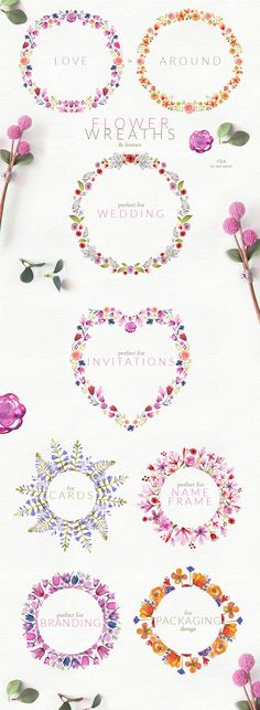 Watercolor Bouquets Set by Bibela on @creativemarket
