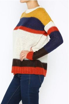 This sweater is made purl-side-out in a primary color print.    Striped Textured Sweater by Ambiance. Clothing - Sweaters - Crew & Scoop Neck Washington
