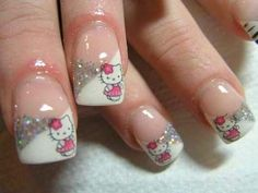 Hello Kitty nail art look stunning, appealing and look super cool on your nails. Here are our 9 best and Easy Hello Kitty Nail Art Designs With Images which will definitely impress you. Cat Nail Art, Cat Nails, Fancy Nails, Love Nails, Sparkly Nails, Glitter Nails, Hello Kitty Nails, Pretty Nail Art, Cute Nail Designs