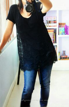 Super easy and CUTE, turns an ordinary t-shirt into great lacey tunic, still shows peeks of form fitting T underneath!! lace tshirt diy. Add section of stretchy lace.