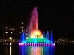 At the center of the city is Lake Eola, a nearly one-mile lake that is the focal point of the city. At night, the iconic fountain is lit up in a rainbow of colors and on select night, a fountain show synchronized to music will play. Orlando City, Orlando Travel, Orlando Vacation, Lake Eola, Cocoa Beach, Florida Travel, Central Florida, Fountain, The Good Place