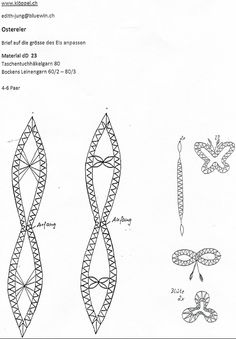 Ostereier Bobbin Lace Patterns, Lacemaking, Needle Lace, Hobbies And Crafts, Easter Eggs, Creations, Christmas, Handmade, Inspiration