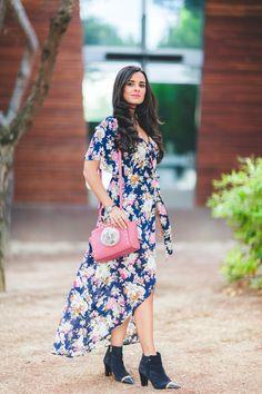 Floral Autumn Dress vestido de flores largo otoño bolso rosa Michael Kors pink handbag botas Pedro Miralles boots Crimenes de la Moda blog Maria Jesus Garnica Navarro