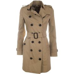 Sandringham Trench Coat ($2,030) ❤ liked on Polyvore featuring outerwear, coats, beige, button coat, double-breasted trench coats, button trench coat, double breasted coat and brown coat