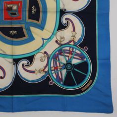 95c6df27d7e8 AUTHENTIC HERMES CARRE 90 SCARF WASHINGTON S CARRIAG BLUE GRADE B USED-AT    eBay