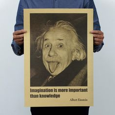 Wholesale cheap poster online, brand - Find best albert einstein imagination vintage kraft paper movie poster home decor wall decals art craft retro painting at discount prices from Chinese paintings supplier - tqkiki on DHgate.com.