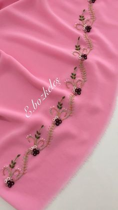 Embroidery Suits Punjabi, Hand Embroidery Flowers, Embroidery On Clothes, Hand Work Embroidery, Hand Embroidery Stitches, Ribbon Embroidery, Crochet Border Patterns, Border Embroidery Designs, Embroidery Suits Design