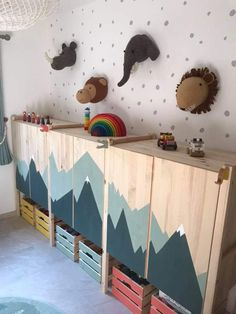 This is my favourite wall in the playroom. The cabinets are just the ikea ivar a… This is my favourite wall in the playroom. The cabinets are just the ikea ivar and I love the bare wood. They looked great as they were but… Ikea Hack Kids, Ikea Kids Room, Kids Bedroom, Ikea Hacks, Ivar Ikea Hack, Bedroom Storage Ideas For Clothes, Bedroom Storage For Small Rooms, Ideas Habitaciones, Playroom Furniture