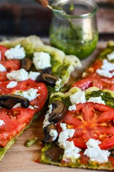 Grilled Goat Cheese and Pesto Pizza | Cocinando con Alena - Not this exact recipe (must be wheat and dairy free, but gives me ideas!)