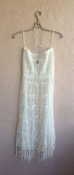 Image of Free people dress Beach Bohemian gypsy goddess sheer embroidered Lace slipdress with fringe hem