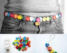 How To Make A Button Belt this is so cute in *theory* but the last thing any girl wants is a button popping off show like dominoes.  lol