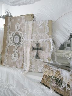 nelly vintage home ~ lace covered books