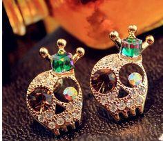 Barato 18 KG de moda crânio jóia brilhante Cystal Crown Skeleton18KGP brincos E3273, Compro Qualidade Brinco de brilhante diretamente de fornecedores da China:                          Nota