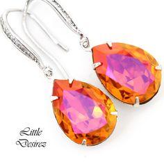 Swarovski Orange and Fuchsia Earrings! #swarovskicrystals #bridesmaidgift #orangepink