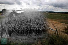 Una granja se levanta donde los prisioneros de guerra alemanes, capturados después de los desembarcos del Día D en Normandía, fueron custodiados por soldados estadounidenses en Nonant-le-Pin, Francia.