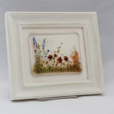 Summer Meadow - framed fused glass tile - Folksy