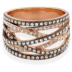 Multi Strand Ring Rose Gold ($57) ❤ liked on Polyvore featuring jewelry, rings, rose gold jewelry, white ring, pink gold ring, cocktail rings and red gold jewelry