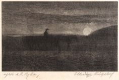 """""""Plodding Homeward,"""" Elbridge Kingsley, copy after Albert Pinkham Ryder, wood engraving, plate: 3 1/4 x 5 3/8"""", Smithsonian American Art Museum. Elbridge Kingsley, a contemporary of Ryder, engraved copies of a number of Ryder's paintings keeping with the artist's original vision.  In this case we can see the composition now barely visible in Ryder's painting."""
