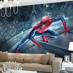 Marvel Spiderman Kids Boys Children Photo wallpaper Custom 3D Wallpaper Superhero Wall Murals Art interior Bedroom Room decor