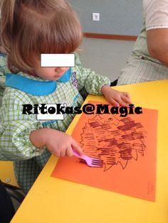 Trabalhos do Outono - Depois de contar a história do ouriço carrapiço, com um garfo as crianças pintaram os espetos do ouriço