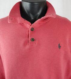 Polo Ralph Lauren Mens XL 1/4 Button Mock Neck Sweatshirt Salmon Coral LS Pony #PoloRalphLauren #MockNeck4Button