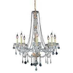 Elegant Lighting 8 Light Chandelier Gold Finish, Clear Crystal-EL7858D28G/RC - The Home Depot