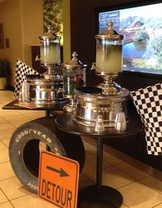 Steal This: Motor-head Themed Event Car Themed Parties, Cars Birthday Parties, Retirement Parties, Grad Parties, 40th Birthday, Nascar Party, Race Car Party, Old Fashioned Wedding, Race Car Themes