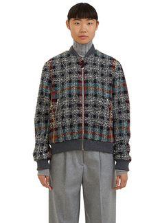 ACNE STUDIOS Women'S Azura Checked Tweed Bomber Jacket In Grey. #acnestudios…