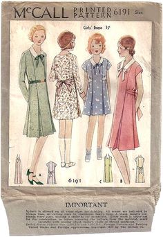 UNCUT 1930 McCall Sewing Pattern No. 6191 of a Girls Dress with Collar , Tie and Pleats , Printo Gravure Pattern Size 10 di cornehl su Etsy https://www.etsy.com/it/listing/269491701/uncut-1930-mccall-sewing-pattern-no-6191