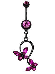 Blackline Butterfly Glass-Gem Loop Belly Button Ring